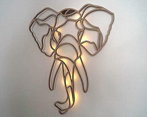 kh Teile Wanddeko Holz Elefant (mit Beleuchtung) Wandbild Afrikanische Wanddekoration Idee, 50cm