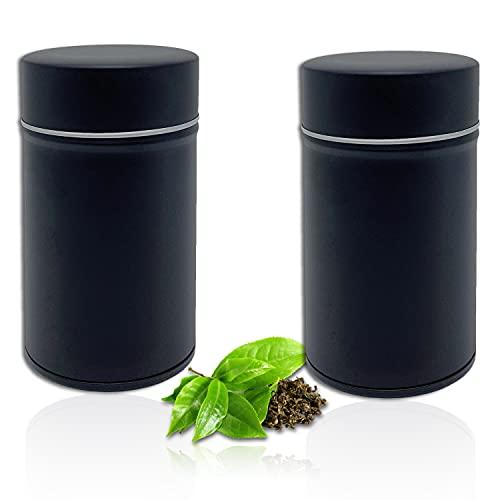 Perfekto24 Lot de 2 boîtes à thé de couleur noire – Boîtes de conservation pour thé en vrac 100 g – Rangement du thé avec couvercle aromatique supplémentaire