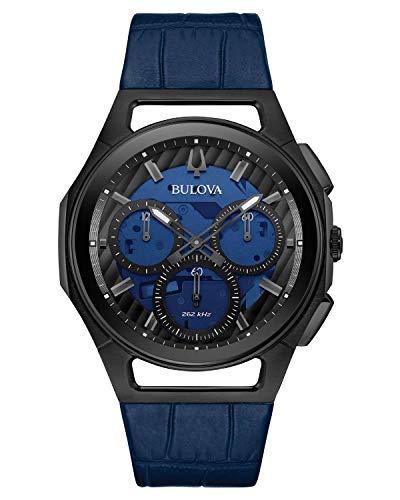 Bulova Curv Herren-Armbanduhr 98A232 mit blauem Lederband