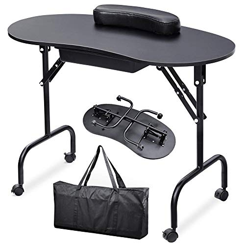 Yaheetech 37''L Portable & Foldable 1-Drawer Manicure Table Nail Technician Desk Workstation Manicure Table with Client Wrist Pad and Free...