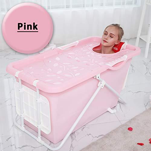 JIAJU Faltbare Kinderbadewanne Swimmingpool Freistehende Badewanne Kunststoffbadewanne Faltbare tragbare Duschwanne Faltbare Whirlpool-Badewannen Für Erwachsene Temperatur halten (Farbe : Rosa)