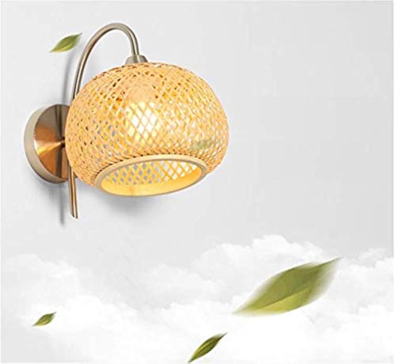 Chandeliermodern japanischen Stil Nachttischlampe Bambus Kunst gewebt Schatten Laternen Led Wohnzimmer Gang Flur Lampe Schlafzimmer Wandleuchte