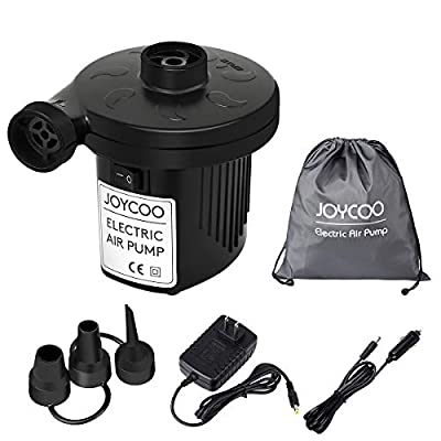 Joycoo Electric Air Pump Camping pump air mattress pump Portable Fast inflate Travel Inflator Deflator for,Pools, Boats,raft, Airbeds, Inflated toy 2 in 1 AC 110V US plug/DC 12V Car Electric Pump