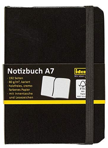 Idena 209283 - Notizbuch DIN A7, FSC-Mix, kariert, Papier cremefarben, 192 Seiten, 80 g/m², Hardcover in schwarz, 1 Stück