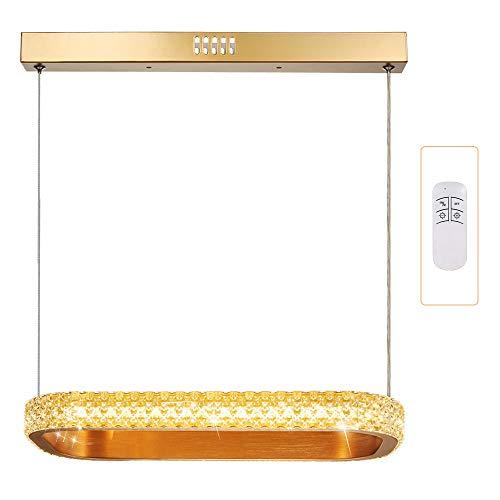 Horevo LED Pendelleuchte mit Fernbedienung 18W, Dimmbar Hängeleuchte höhenverstellbar Kristall, Warmweiss/Kaltweiss, Stufenlos Dimmen, Deckenleuchte, Esszimmer, Schlafzimmer, Wohnzimmer
