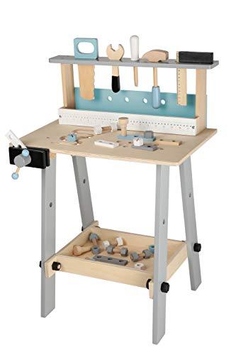 Bayer Chic 2000 278 30 Kinder-Werkbank aus Holz mit Werkzeug und Zubehör, Werkzeugbank, bunt