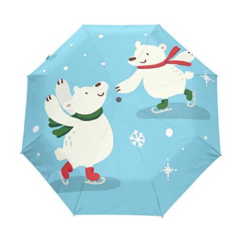 Winter Trägt Schnee Regenschirm Taschenschirm Automatische Reise Winddichte Sonnenschutz Trekkingschirm Wanderregenschirm für Frauen Männer