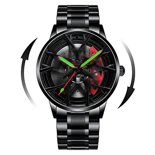 HEEYEE Modelo 3D Spinning Coche Rueda Rueda Rueda Manos Luminosas Reloj de rotación de 360 Grados para Hombres Relojes de Cuarzo Relojes de Pulsera,A