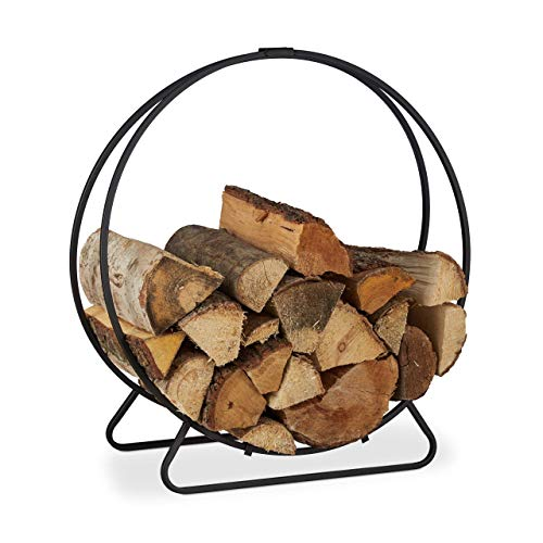 Relaxdays, schwarz Kaminholzregal, rund, Holzscheite Stapelhilfe, aus Stahl, innen, Brennholzregal, HxBxT 65x61x26 cm, 65 x 61 x 26 cm