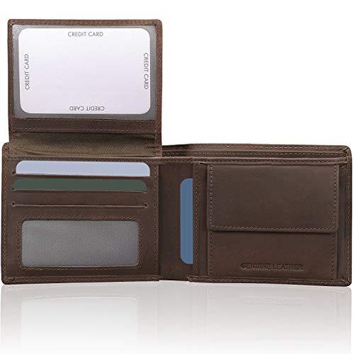 Koruma Cartera para Hombre - Monedero con Bloqueo de RFID Cuero para Tarjetas y Bolsillo Frontal con Botón para Monedas - Marrón, Negro (Marrón - sin Cierre de botón)