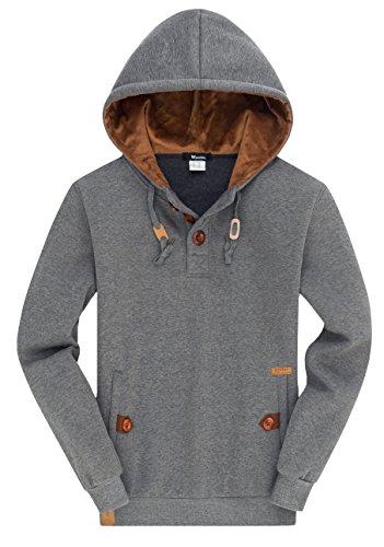 Wantdo Men's Long Sleeves Pullover Hooded Sweatshirt Hot Spring Outfitter Hoodie, Grey, L