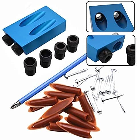 Eortzxk Drill Guide Jig, 28pcs/set 15 Degree Oblique Hole Inclined Hole Positioner Guide Angle Drill Bit Locator Set Woodworking Pocket Hole Jig Kit ,Punch Tools