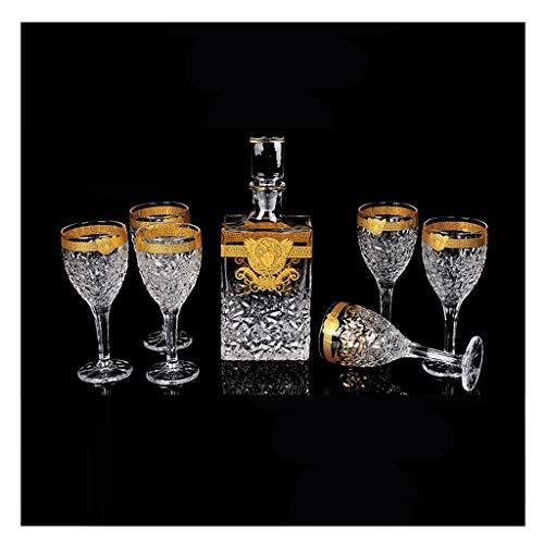 Style Européen Ménages Gold Line Whisky Cristal Haut Pieds Verre À Vin Créatif Vin Rouge Cave À Vin Cave Costume 750 Ml / 235 Ml 7 Pièces