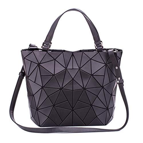 FZChenrry Handtasche Damen Geometrische Tasche Schultertaschen Umhängetaschen Einzigartige Geldbörsen Scherbe Gitter Design Taschen Schwarz