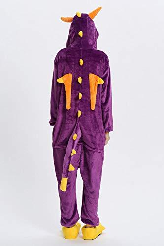 Frauen-Pyjamas Strampelanzug Cartoon Tiere Dinosaurier-Winter-Flanell-Pyjama Erwachsener Rosa Negligés Stich Nachtwäsche Overall Hyococ (Color : Purple Dinosaur, Size : XL)
