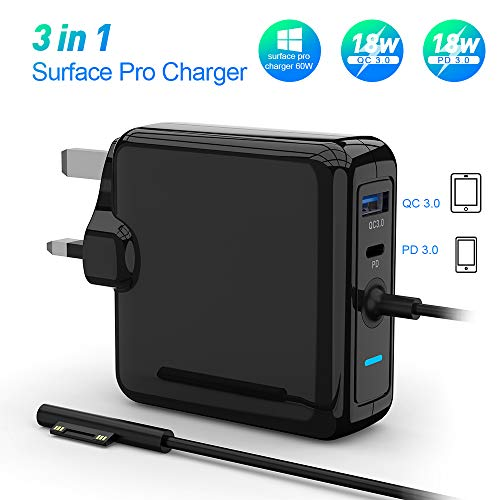Surface Pro Charger Adapter Surface Pro 6 Surface Pro 4 Pro 5, Charger 60W 15V 4A Power Supply Laptop Charger with Type C and pd charger Compatible With Microsoft Surface Pro 6 Tablet portable charger