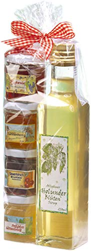 Geschenkset aus dem Allgäu | 250ml feinster handgemachter Holunderblüten-Sirup | Marmeladen-Honig Geschenkset | Handgemachte Fruchtaufstriche | Garantiert Deutscher Honig (250ml+4x50g)