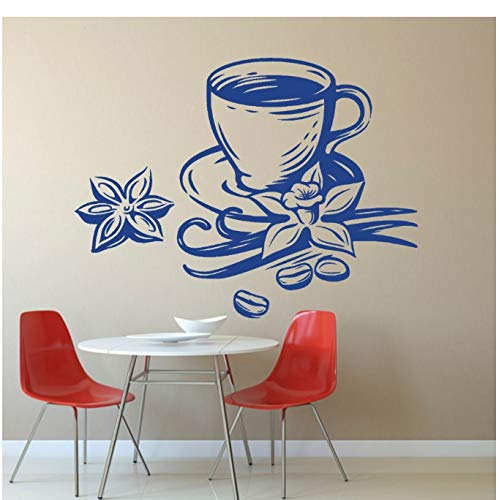 aobobaihuo Kaffeetasse Mit Sternanis Silhouette Wand Vinyl Aufkleber Aufkleber Coffee Shop Wandkunst Dekoration 42 * 32Cm