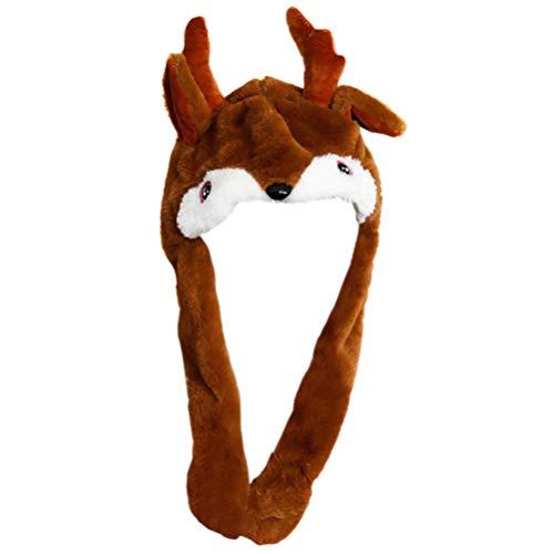 Amosfun sombrero de orejas móviles de navidad sombrero de reno de felpa con orejas móviles accesorios de disfraces de renos disfraces de navidad favores de fiesta de navidad suministros 55cm