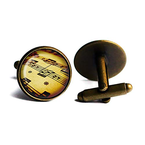Sheet Music Musical Notes Noten Musik Hinweis Antike Bronze Manschettenknöpfe