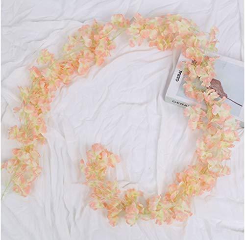BlueXP 2 Pieza180cm Guirnalda de Flores Artificial Flor Seda Artificiales Colgante Vines Guirnaldas de Hermoso Flores de Cerezo para Familiar la Fiesta Jardín Navidad Decoración Champagne
