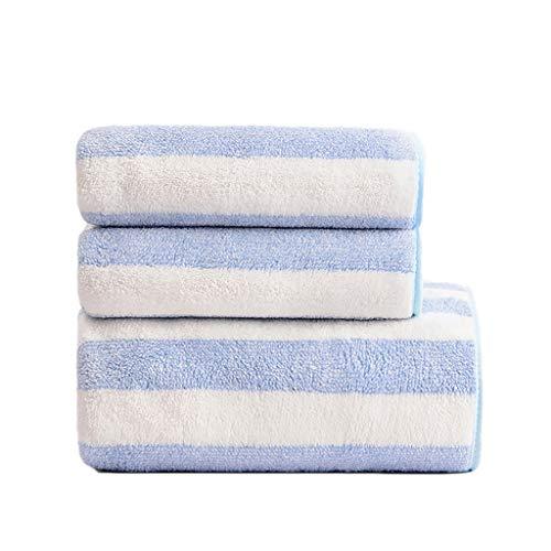 ZRJ Home Pack de 3 toallas de baño resistentes a la decoloración, toallas de algodón livianas, superabsorbentes, viajes, casa, spa, preferenciales (color: azul)