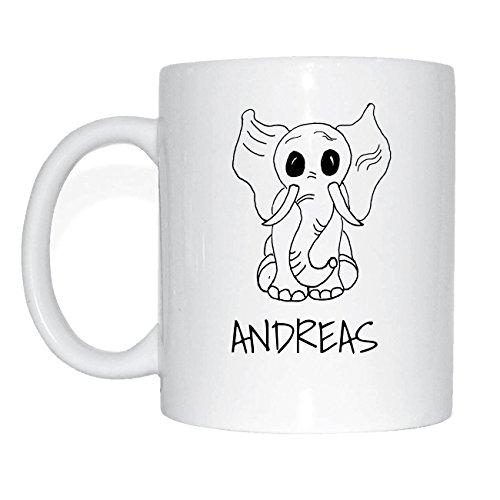 JOllipets ANDREAS Namen Geschenk Kaffeetasse Tasse Becher Mug PM5129 - Farbe: weiss - Design: Elefant