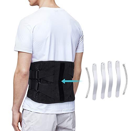 Faja Lumbar para la Espalda, Cinturon Lumbar Ajustable con Bandas de Soporte de Aluminio, Soporte Lumbar para Hombre y Mujer, Alivio del Dolor de la Ciática y Prevención de Lesiones