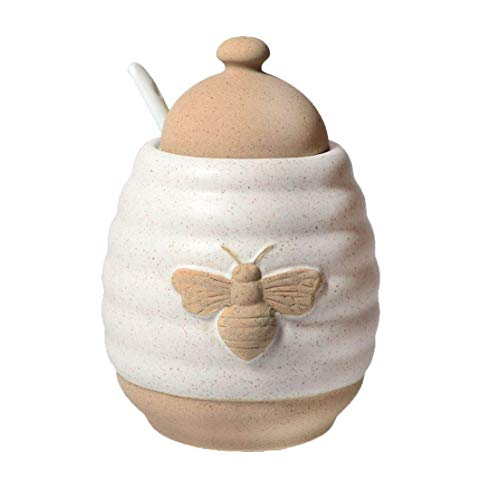 DEI Jar Ceramic Honey Pot, 5.24 x 4.0 x 6.0, Off White/Tan