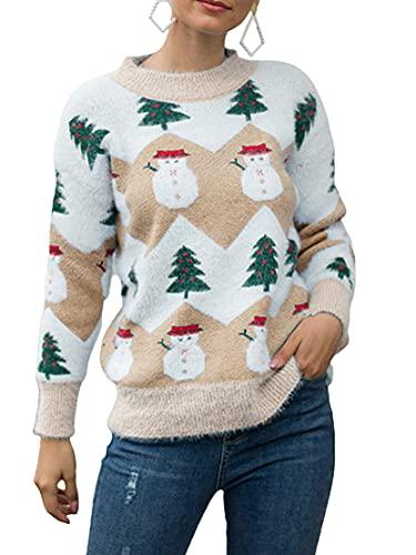 Cárdigan de Navidad para mujer, casual, manga larga, estampado de ciervos, moda suelta, botón de punto, abrigo, Outwear, C-caqui, M