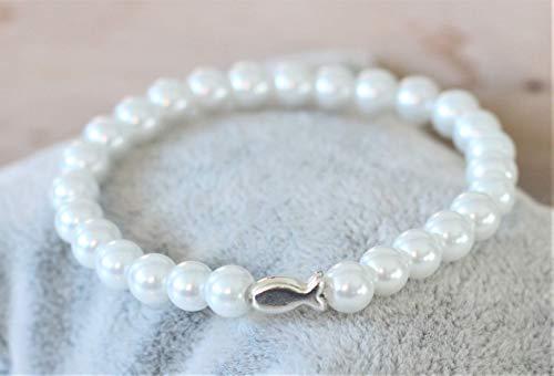 Perlenarmband perlmutt weiß Fisch silber farben, Kommunion Geschenk Mädchen, Firmung, Kind, Kommunionsarmband