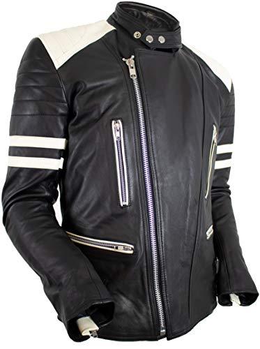 MDM Retro Oldschool Lederjacke, 80´s Lederjacke, schwarz-weiß Motorradjacke (XL)