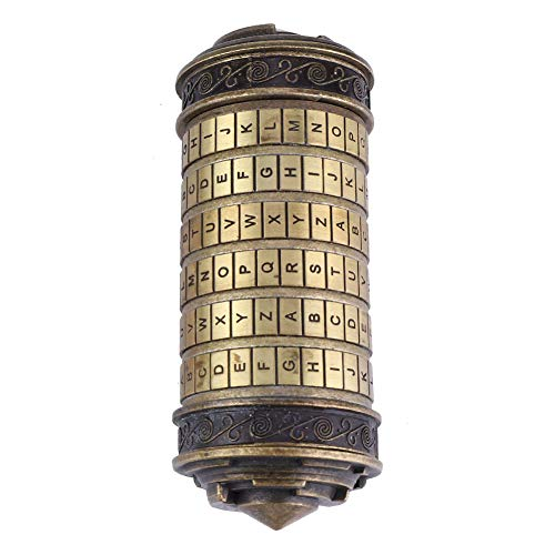 Hongzer Da Vinci Code Cryptex Lock, Da Vinci Code Cryptex Combination Lock Romantic Gift with Accessories, Cylinder Lock Da Vinci Code Alphabet Lock