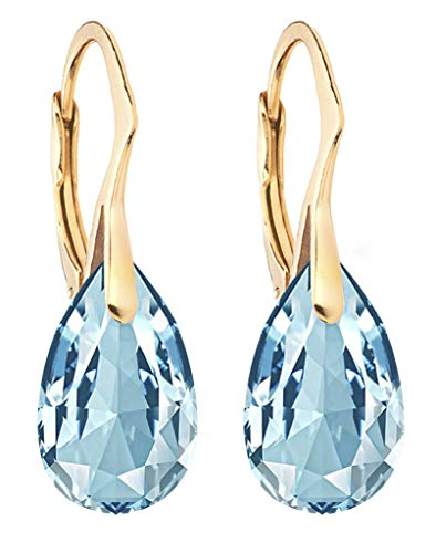 GIFT BOXED! Ah! Jewellery Women's 16mm Aquamarine Pear Crystal Earrings. Genuine Highly Polished 24K Gold Vermeil Over Sterling Silver, Stamped 925. 3gr Total Weight.