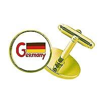 germary国旗の赤いパターン スタッズビジネスシャツメタルカフリンクスゴールド