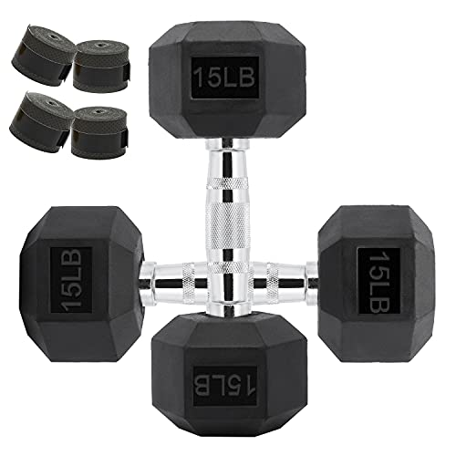 15lb Hex Dumbbells Weights Set of 2 - Solid Steel Dumbbells Set, Exercise & Fitness Dumbbell for Home Gym Equipment Workouts Strength Training Free Weights for Women, Men