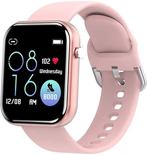 JIAJBG Smart Watch 1.54 Pantalla Grande Hd Ip67 Impermeable Podómetro Movimiento Sueño Recordatorio Inteligente Android e iOS Moda Rosa Exquisito/Rosa