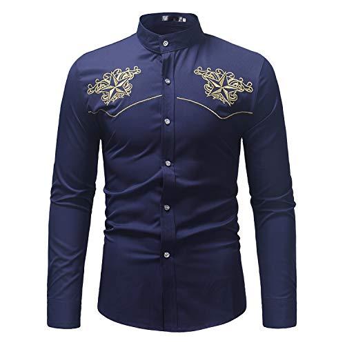 X&Armanis Camicia Casual per Uomo, Camicia Ricamata Ricamata in Poliestere T-Shirt a Maniche Lunghe retrò con Collo rialzato,3,XL