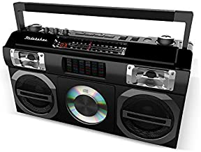 Studebaker SB2149B Master Blaster Bluetooth Boombox with 3 Way Power, AM/FM Radio, USB Port, CD Player with MP3 Playback, LED EQ and 10 Watts RMS Speaker in Black