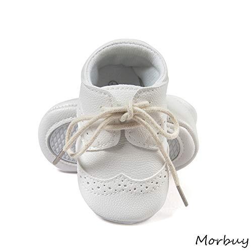 Baby Künstliche PU Schuhe, Morbuy Retro Babyschuhe Neugeborene Mädchen und Jungen Kleinkind Weiche Alleinige Anti-Rutsch Krabbelschuhe Wanderer Schuhe (12cm / 6-12 Monate,Kleine weiße Schuhe)