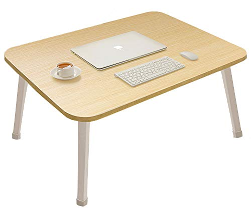 Wooden Foldable Laptop Table, Portable Standing Bed Desk, Breakfast Dinner Serving Bed Tray, Notebook Computer TV Stand Reading Holder for Couch Floor,Student Standing Table, Large Size,White Oak