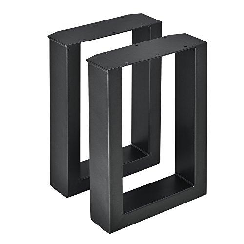 [en.casa] 2 x Conjunto de Patas de Mesa - Set de 2X Patas de Mesa - Metal - Patas de los Muebles - 30 x 43 cm - para Banco o para Mesa de Centro - Armazón de Mesa - con protección para Suelo - Negro