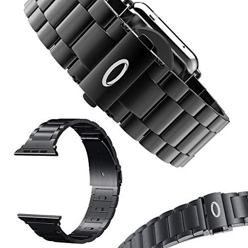 Trop Saint® Bracelet Compatible avec Apple Watch (44mm/42mm) Fermoir Métalique réglable - Noir - pour iWatch Series 1/2/3/4/5/6/SE Edition/Sport