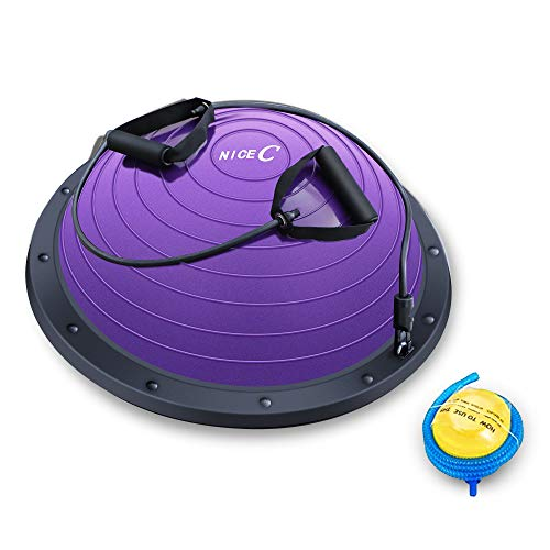 Nice C Balance Ball Balance Trainer, Half Ball with Resistant Band, Strength Exercise Fitness Yoga with Bonus Foot Pump (Purple)