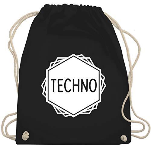 Shirtracer Festival Turnbeutel - Techno Festival Motiv - Unisize - Schwarz - techno turnbeutel - WM110 - Turnbeutel und Stoffbeutel aus Baumwolle