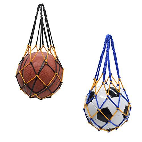 Zasiene Deportes Malla Bolso 2 Piezas Bolsa de Malla de Fútbol Bolsa de Malla Tejida a Mano Baloncesto Carry Net Bag Bolsa de Malla de Nailon Multifuncional(Azul-Amarillo y Negro-Amarillo)