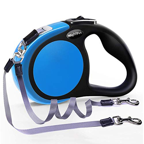 MigooPet Double Retractable Dog Leash for Two Dogs Up to 50 lbs Per Dog - 16 ft - Coupler Dog Leashes for Small Medium Dogs - One Locked System, Non Slip Grip, Tangle Free (Small/Medium 2 Dogs, Blue)