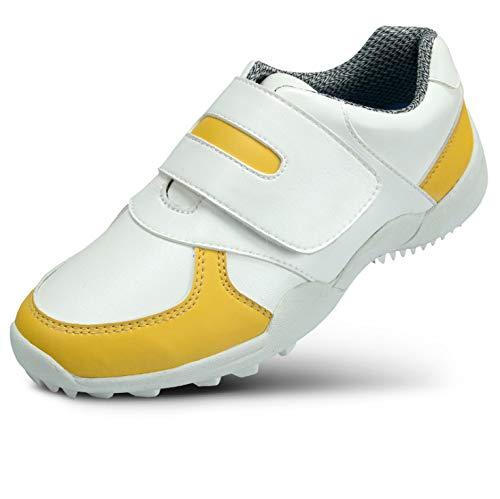 CGBF-Kinder Golfschuh Jungen Im Freien Golf Shoes Breathable Wasserdichten Anti-Skid Sportschuhe Leichte Turnschuhe Lauf,Gelb,36 EUR/4.5 UK/5.5 USA