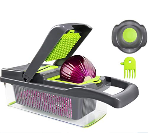 Multi-function cutting machine-Professional Onion Cutter Fruit and Vegetable Dicer-Mandoline Slicer Dicer,The Best Kitchen Accessories (Gray-green)