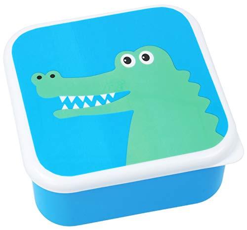 com-four® Brotdose für Unterwegs - bunte Lunch-Box für Kinder mit coolem Tiermotiv (01 Stück - Krokodil - blau)